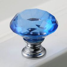 New 30mm Crystal Glass Door Knobs Drawer Blue Pull Handle Cabinet Knob+Screws