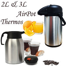 2 3L AIRPOT VACUUM STAINLESS STEEL FLASK GREY THERMOS PUMP ACTION JUG TEA COFFEE