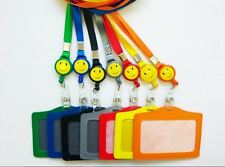 SMILEY FACE neck lanyard Retractable Reel and ID Badge Holder/security badge