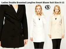 LADIES DOUBLE BREASTED LONG LINE SMART BLAZER JACKET SIZE8-12 TAILORED SUIT WORK