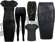 Ladies Black Leather Look Wet Style T shirt Legging Midi Skirt Dress Celeb Kim K