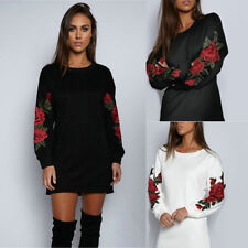 Embroidery Flower  Women's Long Sleeve Pullover Sweater Loose Blouse Jumper Tops
