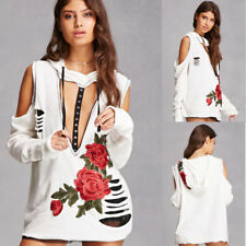 Women Casual Long Sleeve Ripped Hoodie Jumper Pullover Cool Tops Shirt Blouse