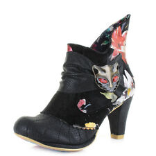 Womens Irregular Choice Miaow Black Red Floral Heeled Ankle Boots UK Size