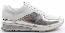 Zapatos Mujer Sneakers MICHAEL KORS Allie Wrap Trainer Metallic Silver White New