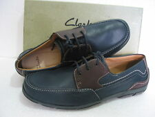 NEW MENS CLARKS EXTRA LIGHT LATCH BAY NAVY COMBI LEATHER SHOES UK SIZE 8,10 G