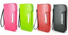 PU Leather Folio Wallet Case Flip Cover w/ Wrist Strap for Apple iPhon