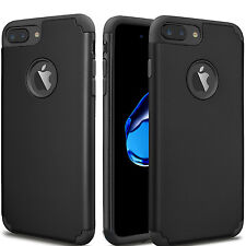Black Hybrid Rugged Rubber Shockproof Cover Case For Apple iPhone 7 6S
