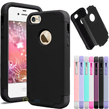 For Apple iPhone 5 SE 5S Hybrid Armor Shockproof Rugged Rubber Case Co