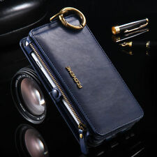 For iPhone 6 7 Plus Samsung S8 S7 Luxury Genuine Leather Cover Flip Wa