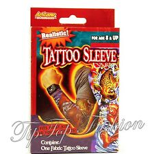 NEW KIDS ADULTS PACK OF ONE REALISTIC FABRIC TATTOO PRINTED SLEEVE FANCY DRESS