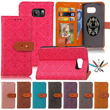 For Samsung S8 S7 S6 Luxury Flip Leather Wallet Card Photo Slot Case S