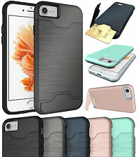 CREDIT CARD SLOT KICKSTAND HARD CASE COVER STAND FOR APPLE iPHONE 7