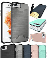 CREDIT CARD SLOT KICKSTAND HARD CASE COVER STAND FOR APPLE iPHONE 7 PL