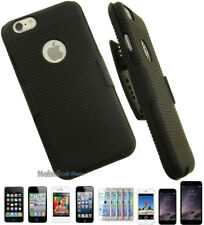 BLACK RUBBERIZED HARD CASE COVER + BELT CLIP HOLSTER w/ STAND FOR APPL