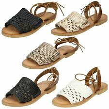 Mujer Leather Collection Cordones Sandalias f0916