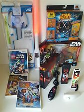 Nintendo Wii Star Wars themed console bundles =Games/Lightsabers/Vinyl wrap+Toys