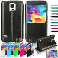 Luxury Window View Flip PU Leather Case Cover For Samsung Galaxy S5 S