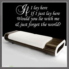 IF I LAY HERE Snow Patrol Lyrics wall at sticker Large decor design Quote
