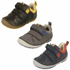 Toddler Infant Boys Clarks Leather Hook & Loop First Walking Shoes - Softly Toby