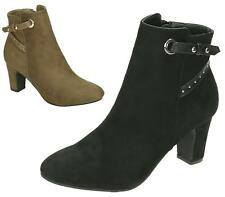 Ladies Womens Black Faux Suede High Heel Slip On Short Ankle Shoe Boots 3-8