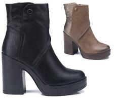 WOMENS LADIES CHUNKY BLOCK HIGH HEEL SHOES PLATFORM ZIP ANKLE CHELSEA BOOTS 3-8