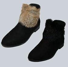 LADIES BLACK SUEDE ANKLE BOOTS WITH FAUX BLACK AND LIGHT BROWN FUR