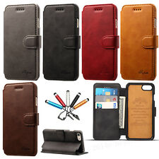 Genuine Leather Magnetic Card Slots Wallet Flip Case Cover For iPhone