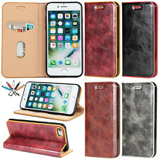 Luxury Leather Case Flip Magnetic Card Holder Stand Cover For iPhone 5