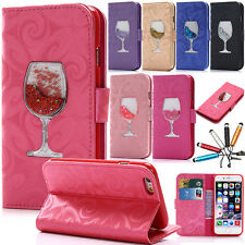 PU Leather Wallet Card Slot Flip Stand Quicksand Case Cover For iPhone