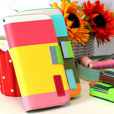 For HTC One M7 Colorful Hybrid PU Leather Wallet Flip Pouch Case Cover