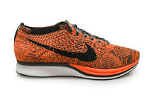 Mens Nike Flyknit Racer - 526628 810 - Orange White Grey Trainers