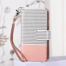 Flip PU Leather 5 Card Wallet Stand Case w/ Stripes for Apple iPhone 7