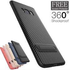 Protective Carbon Fiber Samsung Galaxy S7 Edge S8 S9 Plus Case with Media Stand