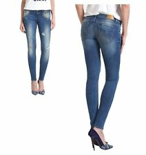 LTB DAMEN Röhren-JEANS DIANE Hose STRETCH DESTROYED Super Slim Blau Zerrissen