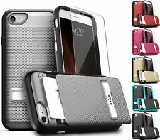 FOR APPLE IPHONE MODELS IMPACT ARMOR HIDDEN CARD SLOT CASE COVER+FILM+