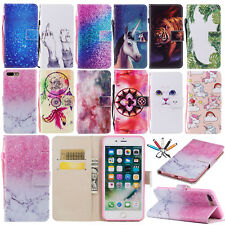 Magnetic Cartoon Painted Leather Card Case Flip Stand Cover For iPhone