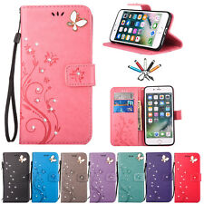 Diamond Butterfly Flip Leather Stand Wallet Card Case Cover For iPhone