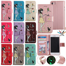Shiny Strap Wallet Case Flip Leather Painted Magnetic Cover For iPhone