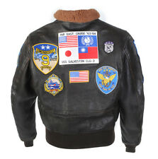 Top Gun Tom Cruise Military Jet Fighter Pilot Brown Fur Cowhide Leather Jacket