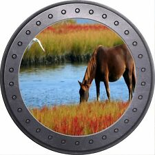 3D Porthole View Beautiful Horse Grazing Wall Sticker Poster M17-162