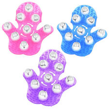 Massage Glove Hand Held 9 Roller Balls Bath Body Massager Stress Reliever