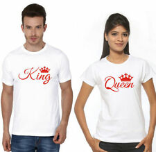 100% Cotton Half Sleeves King Queen Couple T-Shirt Hot Sexy Couples in Lover