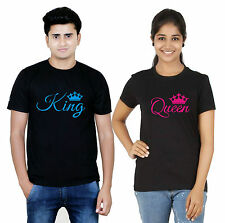 100% Cotton Half Sleeves King Queen Couple T-Shirt Hot Sexy Couples Black