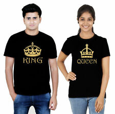 100% Cotton Half Sleeves King Queen Couple T-Shirt Hot Sexy Couples Black Gold