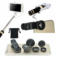 Fish Eye Wide Angle Macro Camera Lens Monopod Stick For iPhone 5 6 7 S 8 Plus