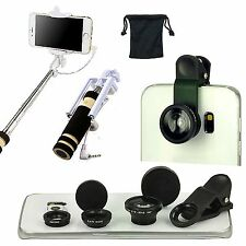 Fish Eye Wide Angle Macro Camera Lens Monopod Selfie Stick For Samsung Galaxy
