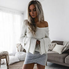 Women Long Sleeve Knitwear Loose Bell Knitted Pullover Jumper Tops Sweater