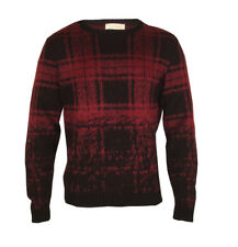Mens Red Check Round Neck Jumper Top Sweater Comfy Long Sleeve Red S M L