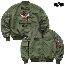 ALPHA INDUSTRIES giacca uomo MA-1 VF FLYING TIGERS GIACCA BOMBER FODERATO NUOVO